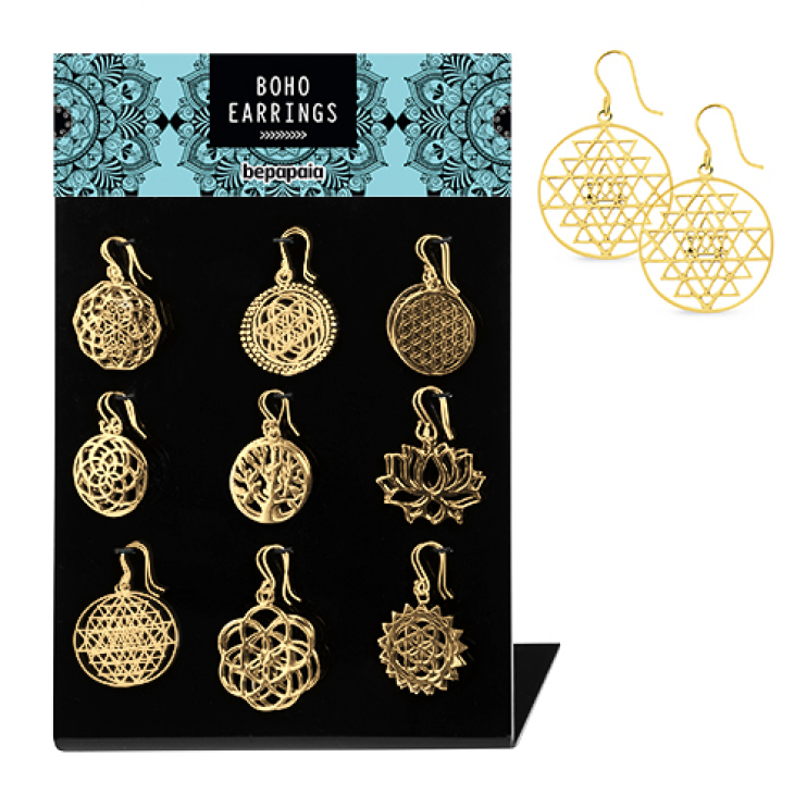 Brass earrings assorted ethnic symbols