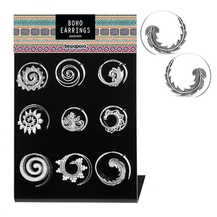 Silver brass spiral earrings ethnic designs