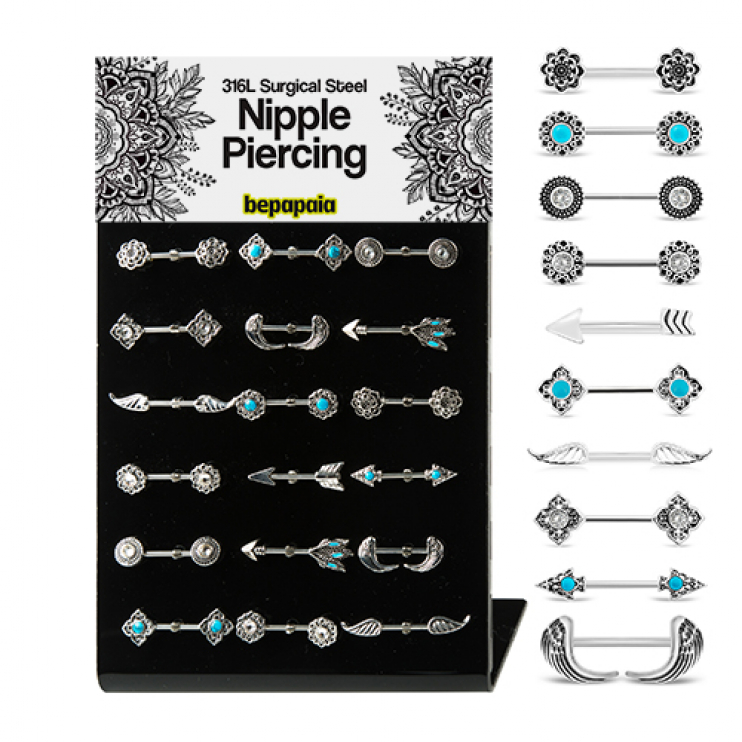 Surgical steel nipple piercing with ethnic designs