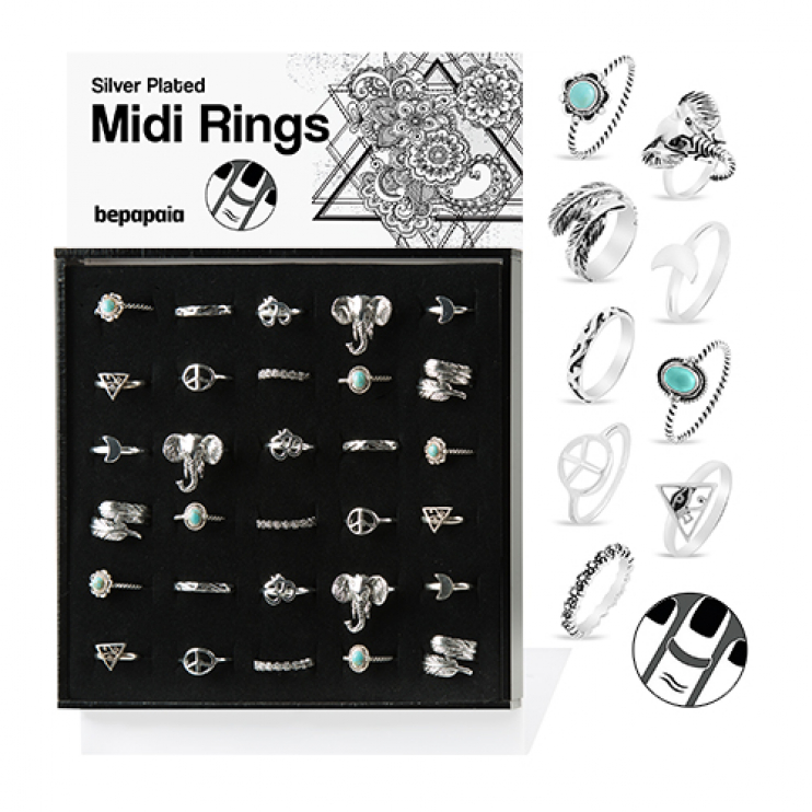 Silver plated midi ring ethnic