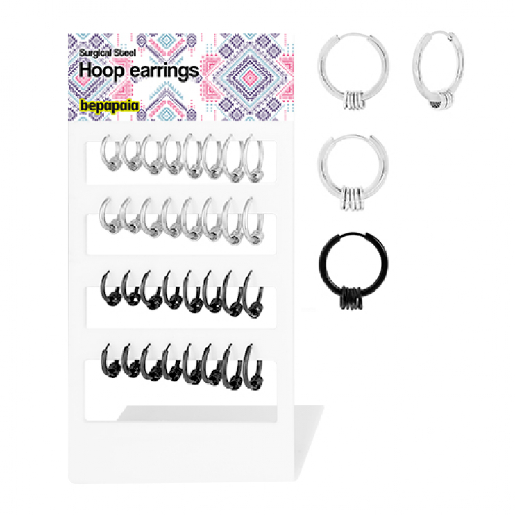 Stainless steel hoop earring with rings