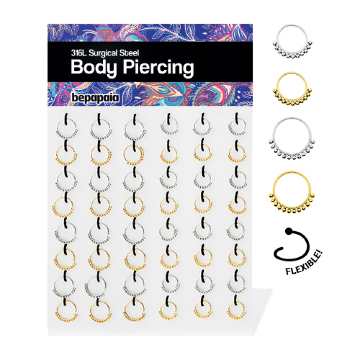 Surgical steel flexible ethnic hoop piercing. 0.8&1.0 x 8-10mm
