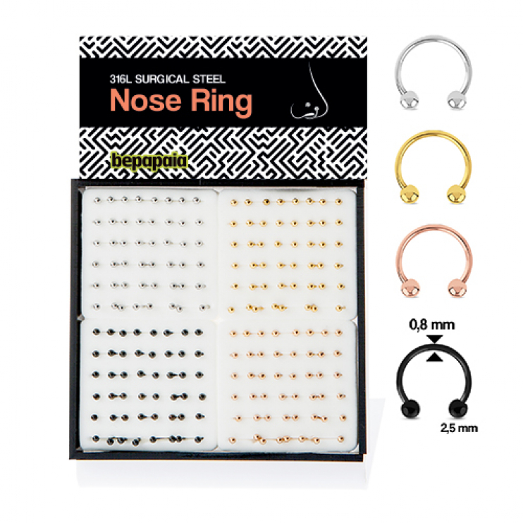 Surgical steel circular barbell nose ring 4 colors. 0.8x6,7,8,10mm
