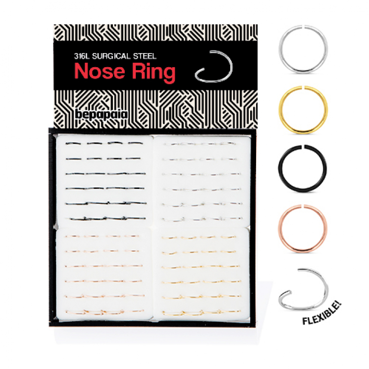 Surgical steel flexible nose ring 4 colors. 0.8x6,8,10mm