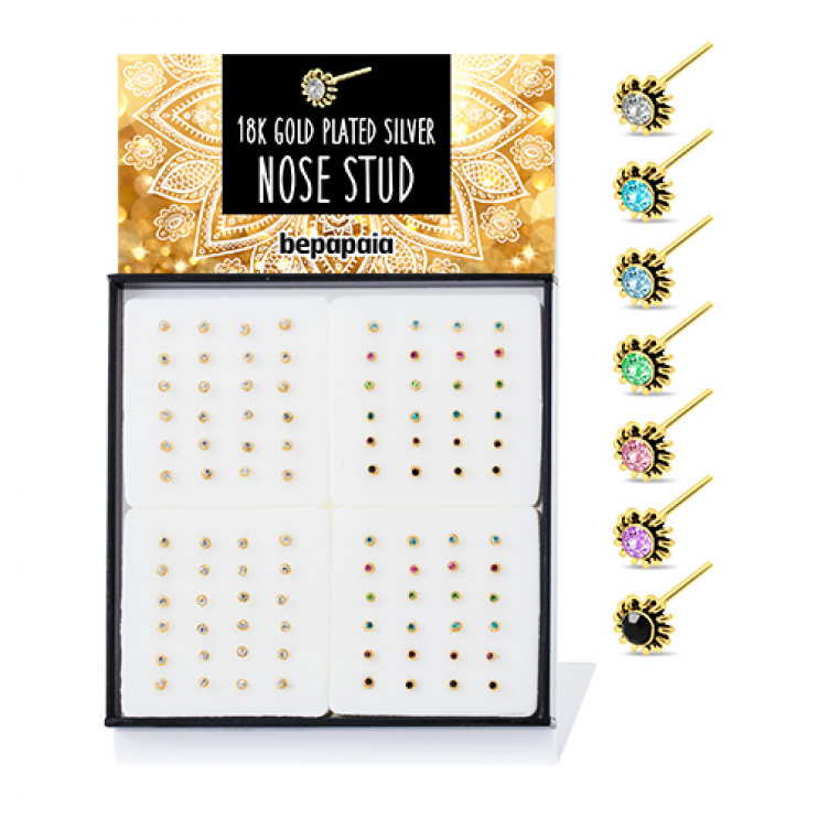Gold plated silver nose studs ethnic style with gem