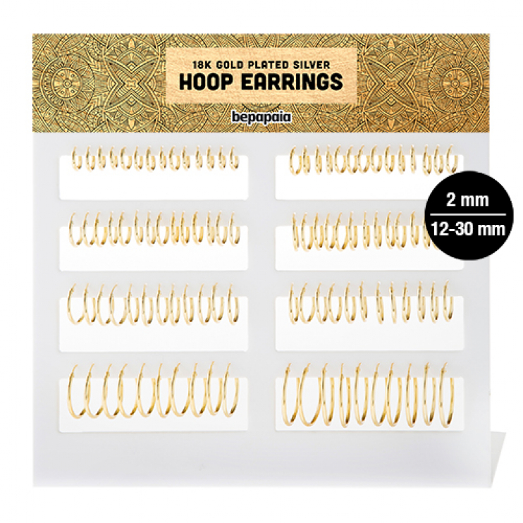 Gold plated silver hoop earring. 2x12mm - 30mm