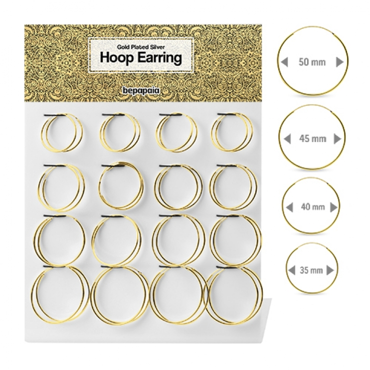 Gold plated silver hoop earring 1.5x35-50mm