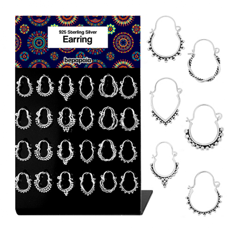 Silver small hoop earring with balls