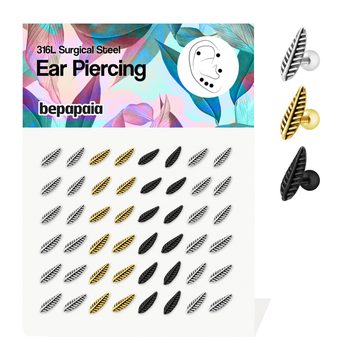 Surgical steel tragus with leaf