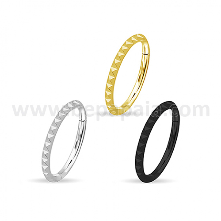 316L surgical steel hinged segment ring pyramidal edge