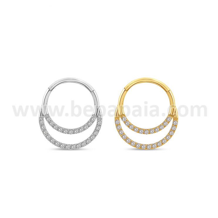 316L surgical steel double hinged segment ring gems