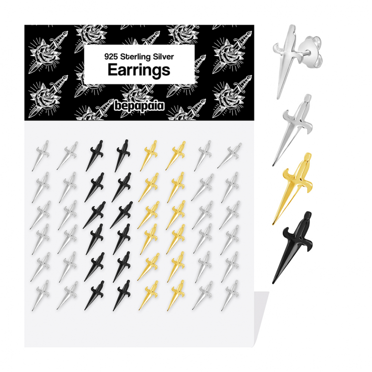 Sterling silver, black and gold plated stud with dagger