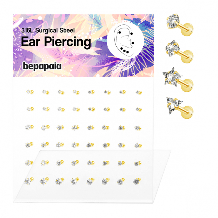 316L Surgical Steel gold colour ear piercing with zirconia