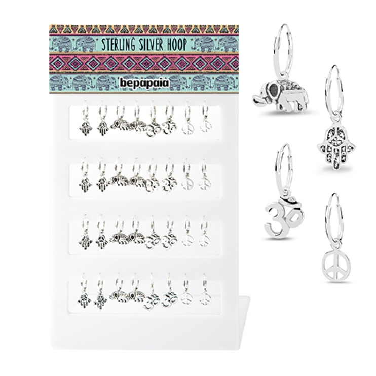 Silver hoop with hanging ethnic symbols