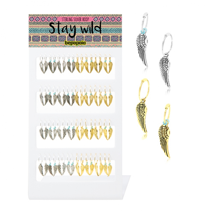 Sterling silver and gold plated hoop earring with wing