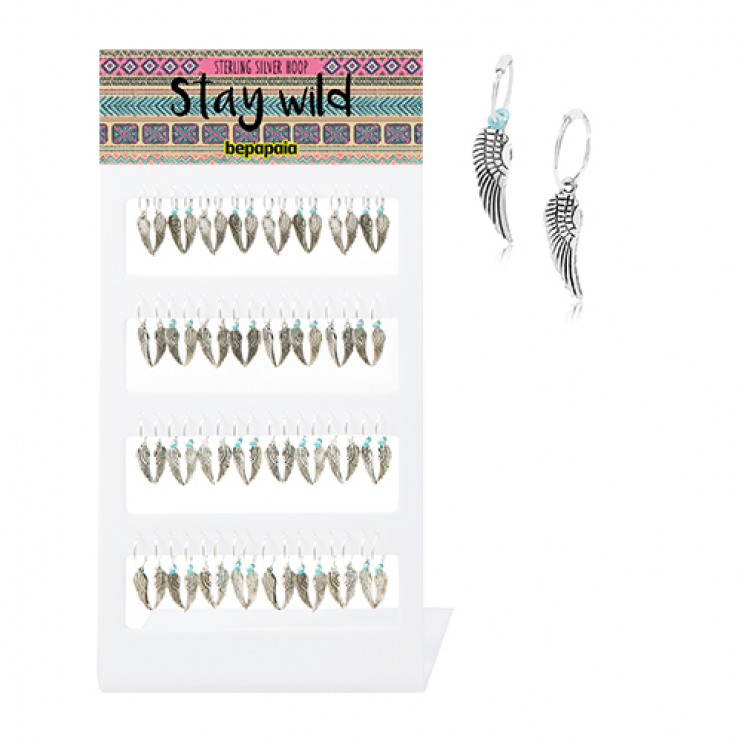 Sterling silver hoop earring with wing