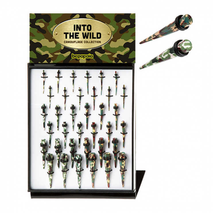 Camouflage acrylic ear taper