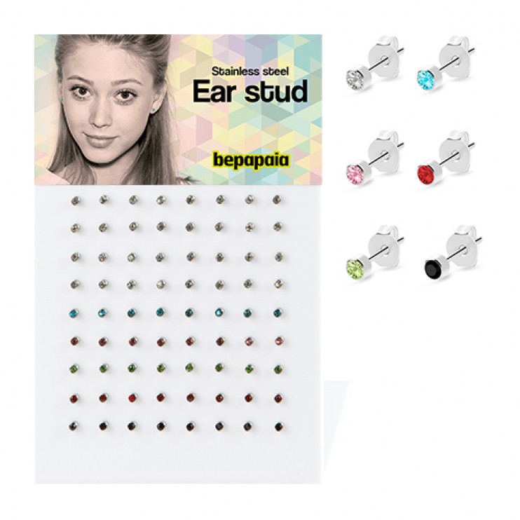 Surgical steel stud earring with stone 2mm