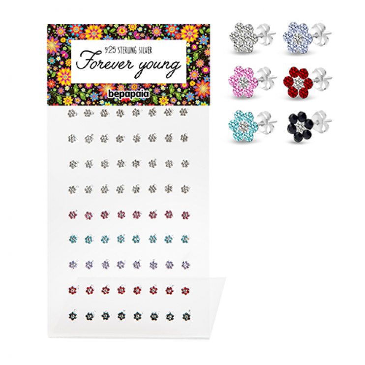Sterling silver multi jewelled flower ear stud
