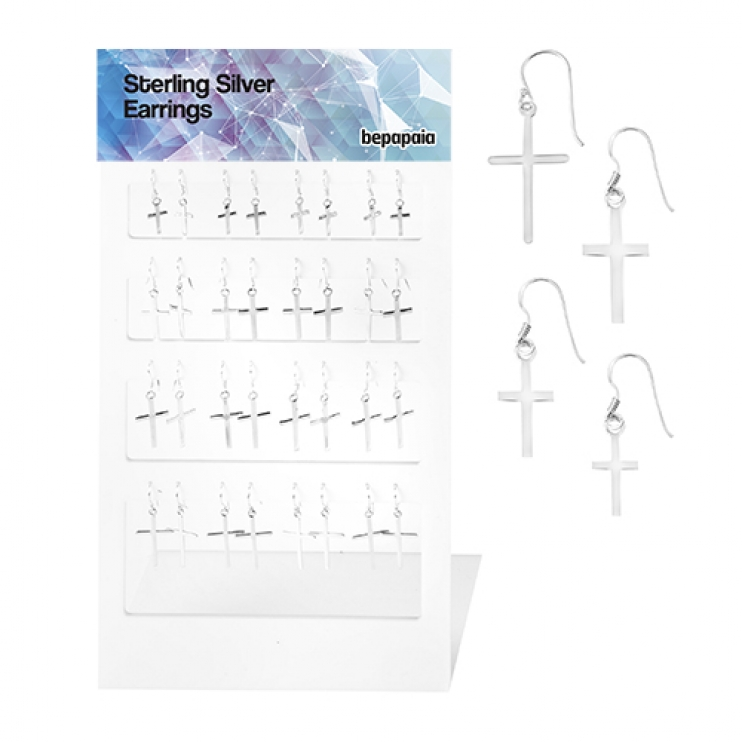 Silver earring with hanging cross