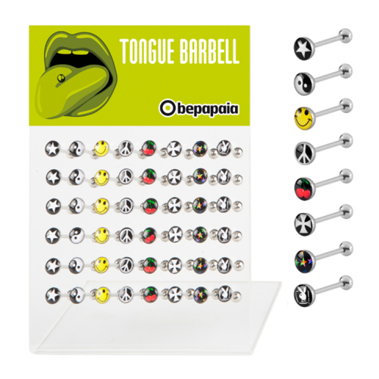 Tongue barbell with funky prints