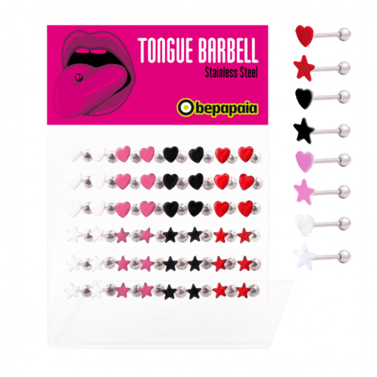 Tongue barbell star & heart shape