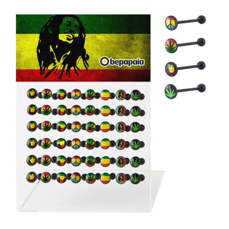 Bioflex tongue piercing with rasta designs