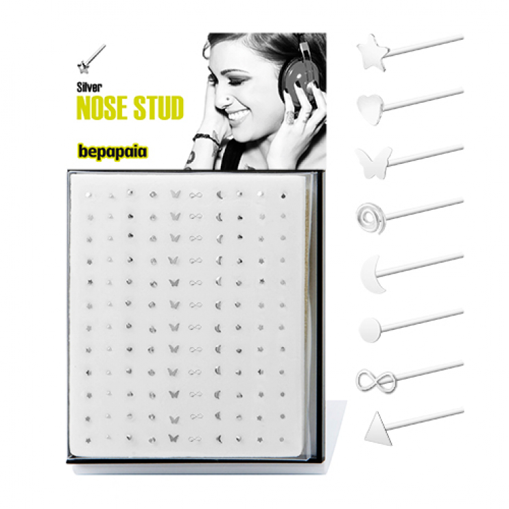Easy to bend silver nose stud mixed shapes