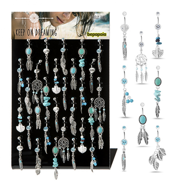 Surgical steel belly button piercing with a feather and turquoise stones