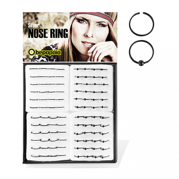 Silver nose ring black