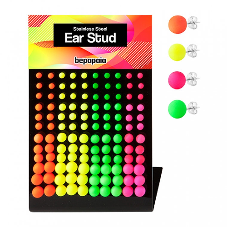 Stainless steel stud earring with fluor colored ball