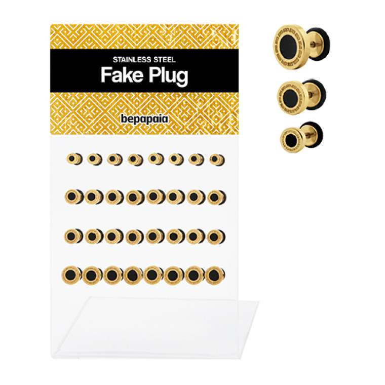 Gold fake plugs with geometrical design