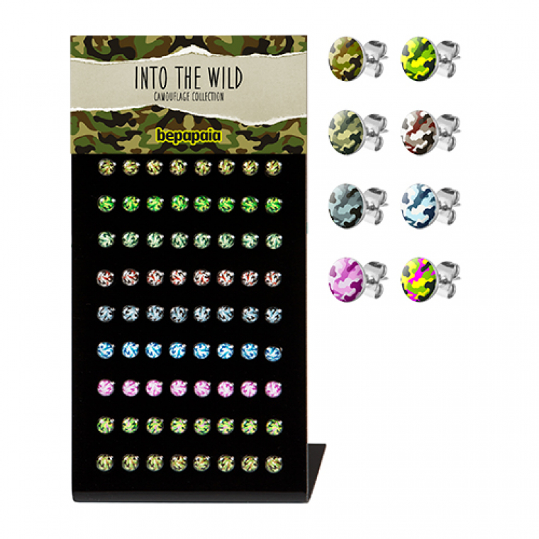 Stainless steel earrings with camouflage print