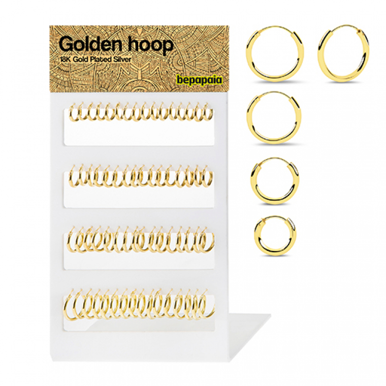 Gold plated silver hoop. 2x12-18mm