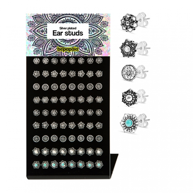 Silver plated studs with ethnic designs