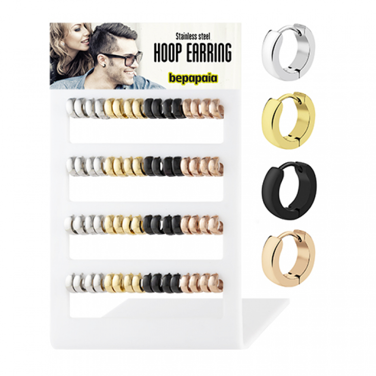 Surgical steel polished hoop earrings assorted colors