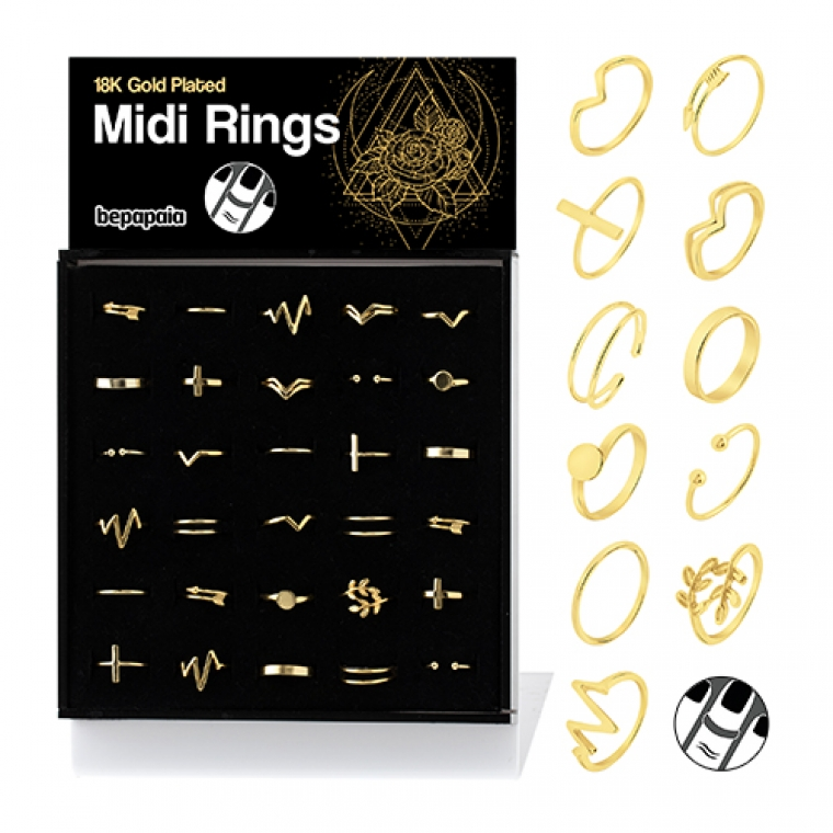 Gold plated silver midi ring
