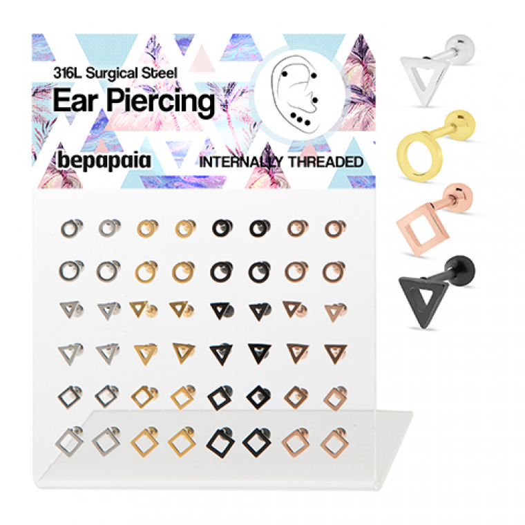 Surgical steel 4 colors tragus with hollow geometric designs