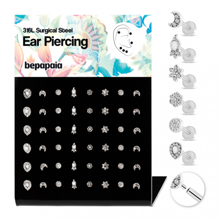 Surgical steel tragus ethnic design with gems