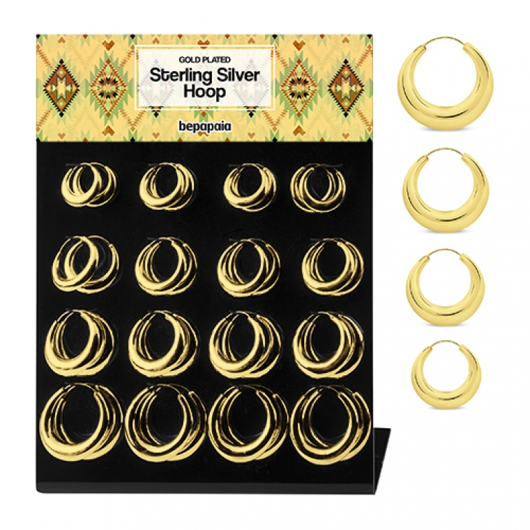 Creole gold plated silver hoop earrings 30-45 mm