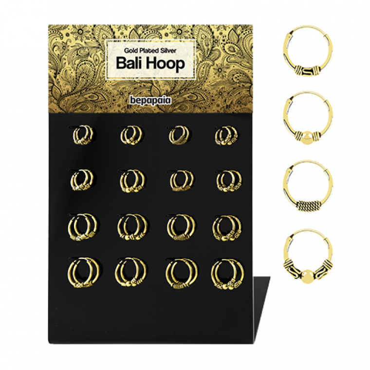 Gold plated silver bali hoop assorted designs. 12mm-18mm