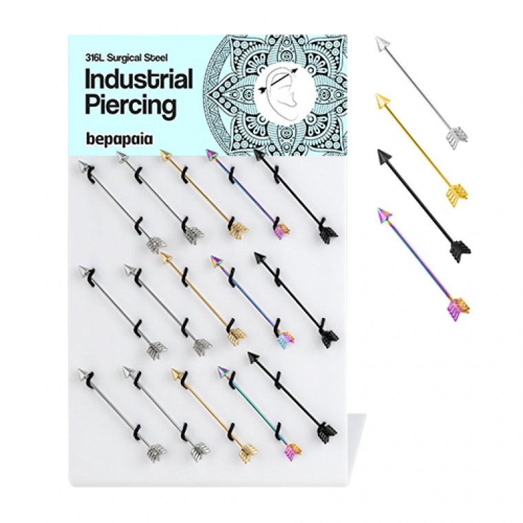 Surgical steel industrial piercing with arrow, 4 colors