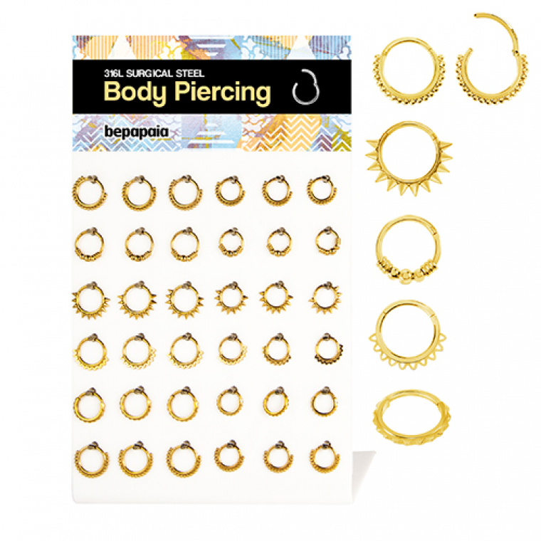 Gold steel assorted hinged segment rings