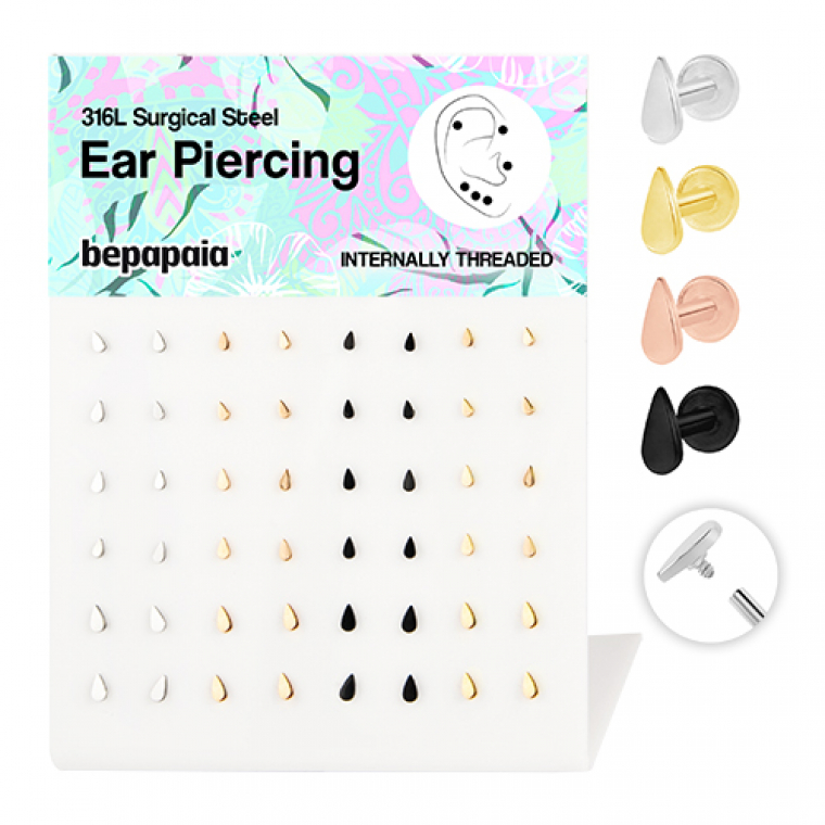 Surgical steel internal thread labret/tragus tear drop