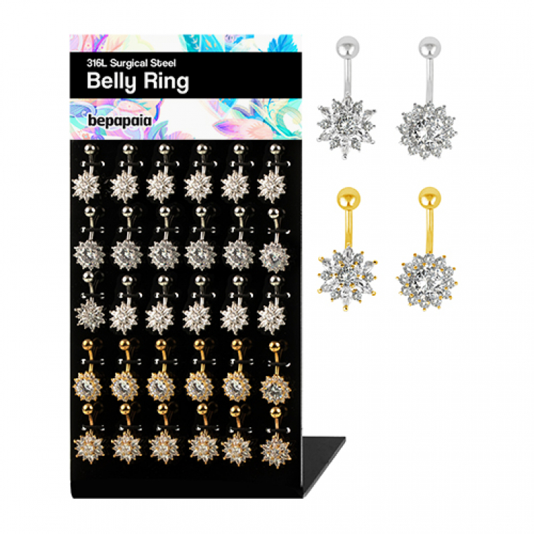 Surgical steel belly piercing with white flower multi cz