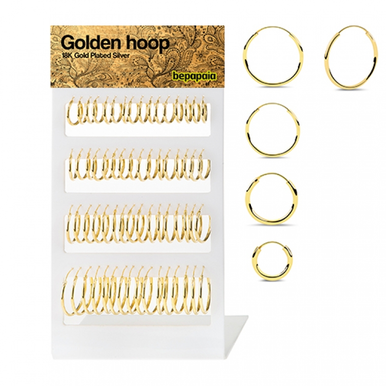Gold-plated silver hoop earring. 1x18-30mm