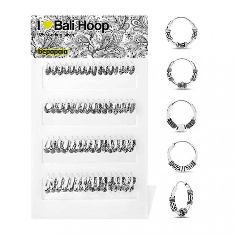 Engraved silver hoop 12-18 mm