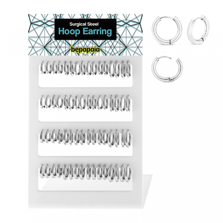 Surgical steel hoop earrings 2.5-3 x 10-16 mm