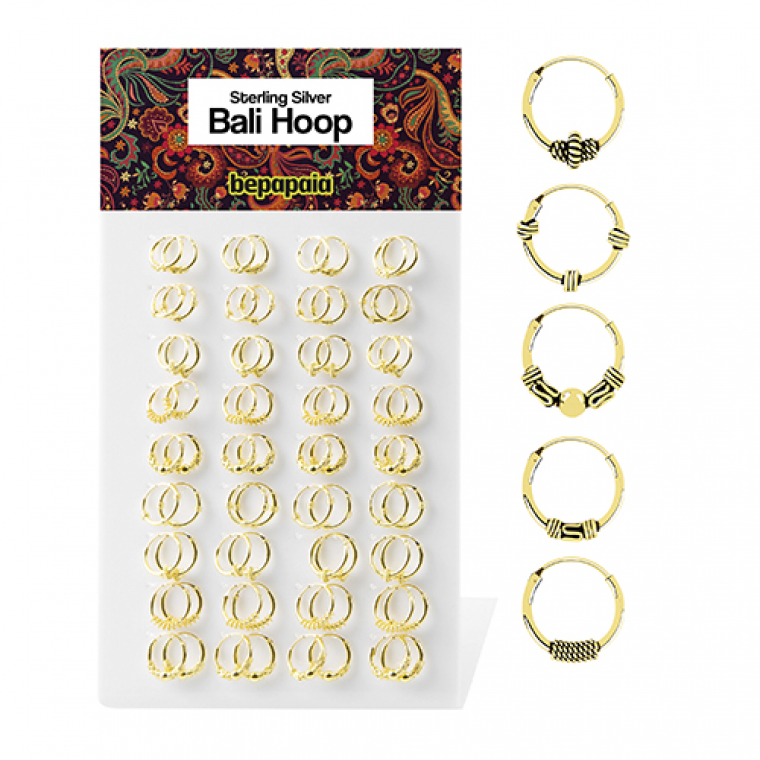 Gold plated bali hoop earring