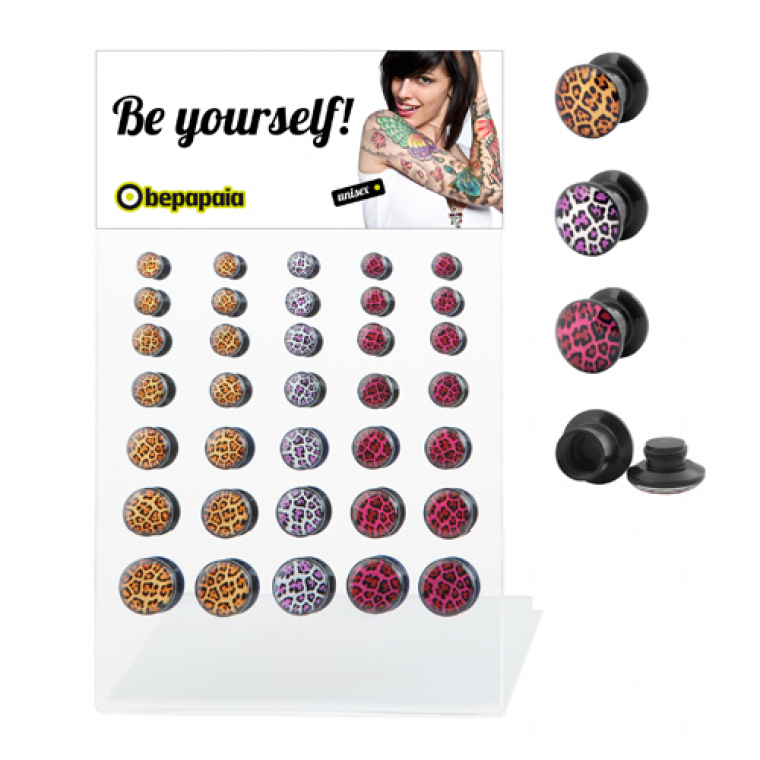 Acrylic ear plug leopard colours